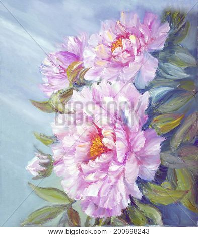 Pink peony flowers blossom bouquet. Oil painting floral texture