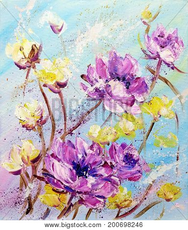 Hand painted modern style Purple and Yellow flowers. Spring flower seasonal nature background. Oil painting floral texture