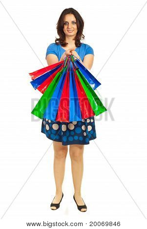 Woman Showing Colorful Shopping Bags