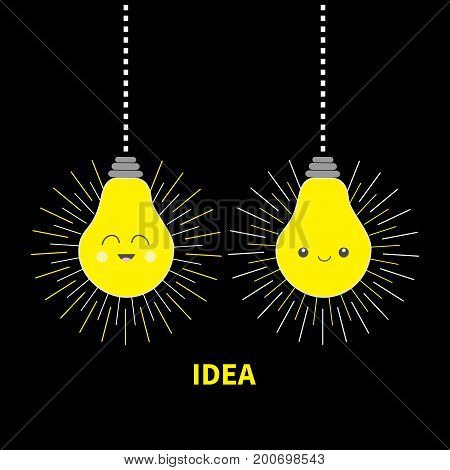 Hanging Idea light bulb icon set Happy smiling face. Shining effect. Dash line. Cute cartoon character. Yellow color switch on. Business success concept. Flat design. Black background Isolated. Vector