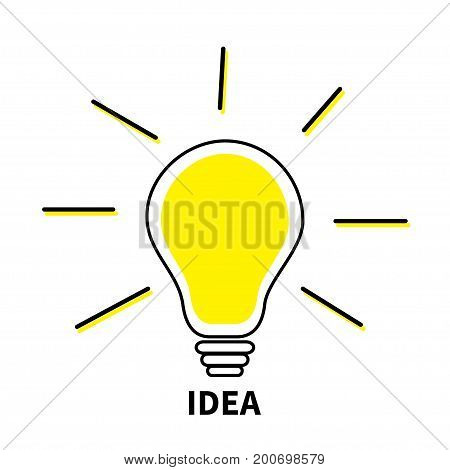 Light bulb line icon. Idea text. Shining effect. Yellow color switch on lamp. Business success concept. Flat design. White background. Isolated. Vector illustration