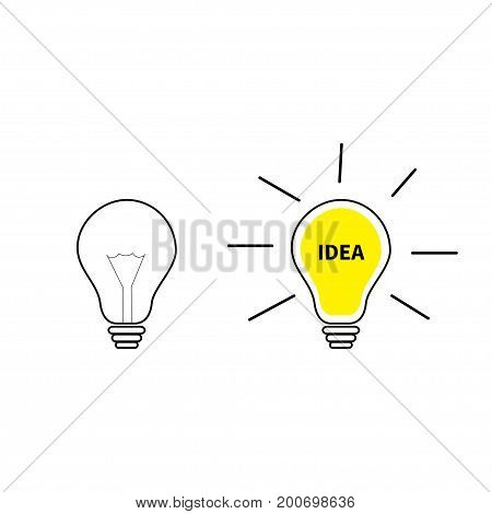 Light bulb line icon set. Switch on off lamp. Idea text inside. Shining effect. Yellow color. Business success concept. Infographic template. Flat design. White background. Isolated. Vector