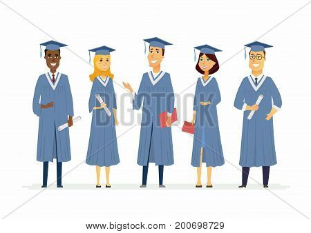 Happy graduating students - cartoon people characters isolated illustration. Composition with celebrating people in academic gowns wearing graduate caps, holding certificates and diplomas