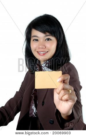Asian Young Businesswoman Showing A Blank Card Name