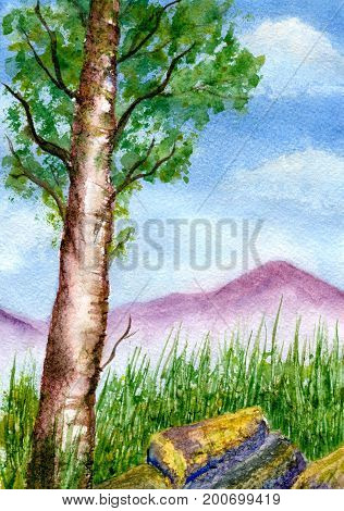 Mountain landscape, tree against the background of mountains and sky with clouds, hand-painted watercolor illustration and paper texture