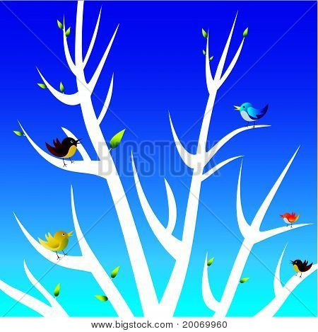 birds and white tree