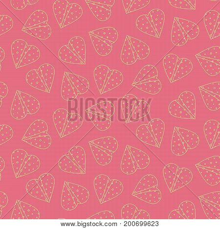 Nice outline tortilla hearts seamless pattern on pink background. Cute mexican fast food tortilla hearts texture for textile, wrap paper, banner, cover, cafe and restaurant menu design