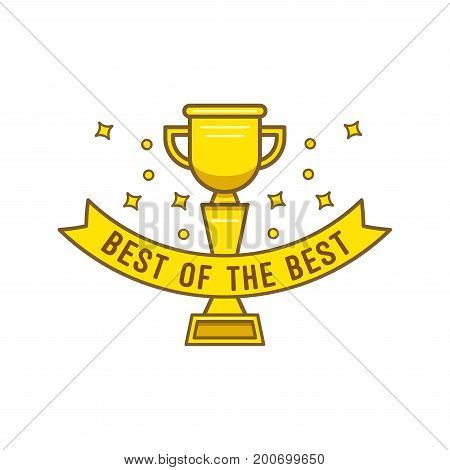Gold cup best of the best in cartoon style. Gold goblet with inscription best of the best for designers and illustrators. Award bowl in the form of vector illustrations