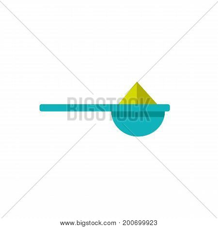 Icon of measuring spoon for protein. Powder, portion, supplement. Sport vitamins concept. Can be used for topics like recovery, muscle building, sport food