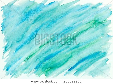 Hand Painted Abstract Watercolor Background In Blue And Green