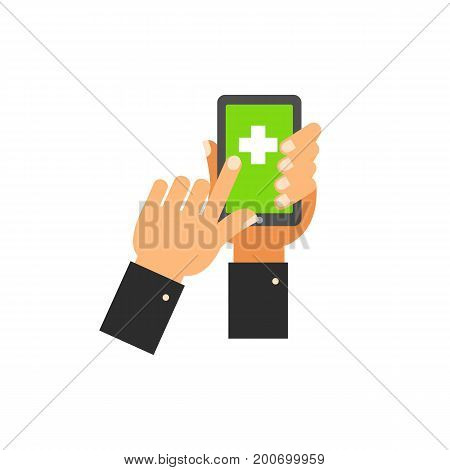 Icon of medical application. Hands, smartphone, gadget, cross. Medical devices concept. Can be used for topics like technology, emergency, taking care of health