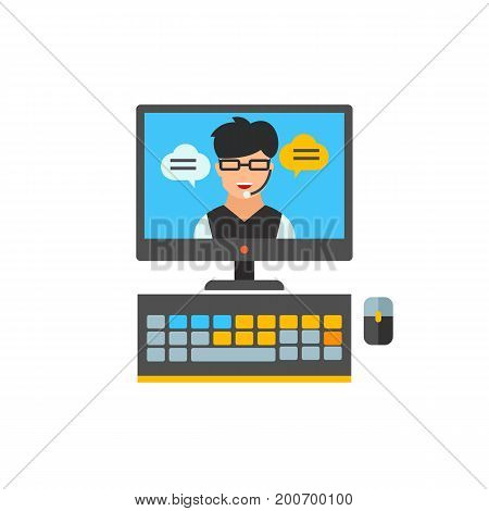 Icon of online support. Computer, connection, assistance. Contact center concept. Can be used for topics like customer service, online conference, business communication