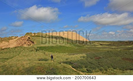 Unique 90 meter high sand dune at the west coast of Denmark. Rubjerg Knude.