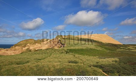 Summer day at the west coast of Denmark. Rubjerg Knude 90 meter high sand dune.