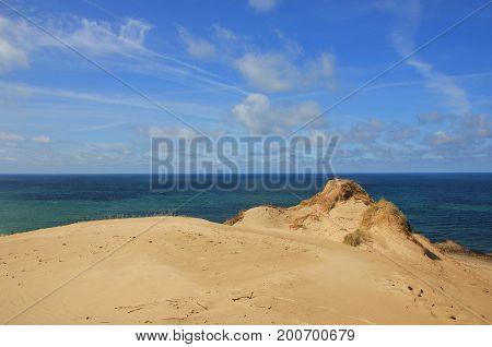 Sand dune Rubjerg Knude and Vesterhavet. West of Denmark.