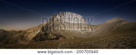 Throne of Zeus, the mythical summit of Mount Olympus in Greece