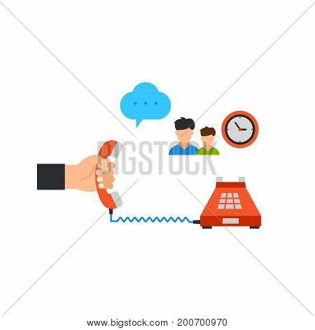 Icon of taking phone. Dialogue cloud, watch, people. Contact center concept. Can be used for topics like assistance, trust line, helpline