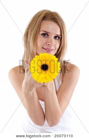 Pretty Young Woman Holding A  Flower