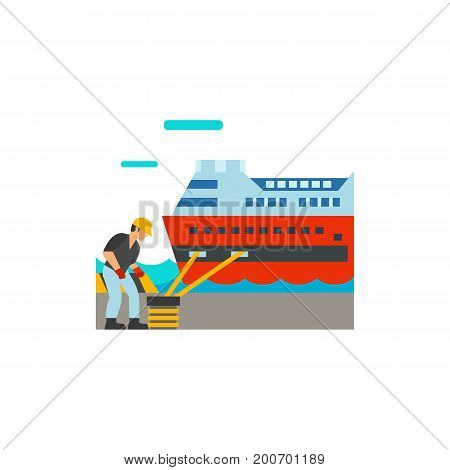 Icon of wharf on shore. Wharf worker, mooring large ship, platform. Seaport concept. Can be used for topics like trip, destination, dock