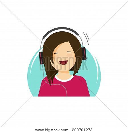 Girl in headphones listening music and smiling vector illustration, flat cartoon young happy woman in earphones relaxing clipart