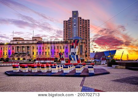 Adelaide Australia - September 16 2016: Adelaide Casino with Intercontinental hotel scene viewed towards west from King William street at sunset