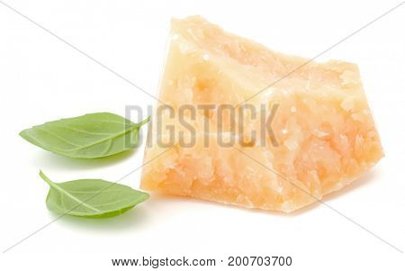 One parmesan cheese shred and basil leaf isolated on white background cutout