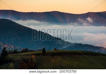 The Rise Of A Cloud In Mountains At Dawn