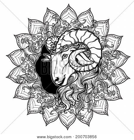 Zodiac sign of Aries with a decorative frame of sun flares and sunflower petals. Astrology concept art. Tattoo design. Sketch isolated on white background. EPS10 vector illustration.
