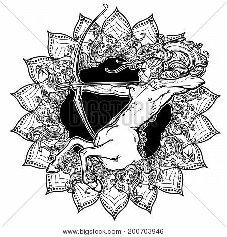 Sagittarius Zodiac sign with a decorative frame of sun flares and sunflower petals. Astrology concept art. Tattoo design. Gay Pinup style. Linear drawing isolated on white background. EPS10 vector