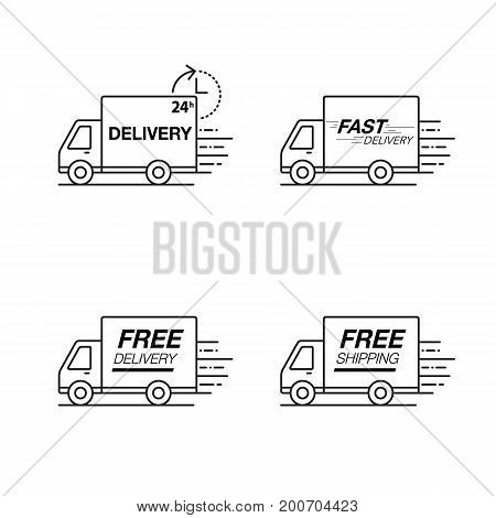 Delivery Icon Set. Truck Service, Order, 24 Hour, Fast And Free Worldwide Shipping.
