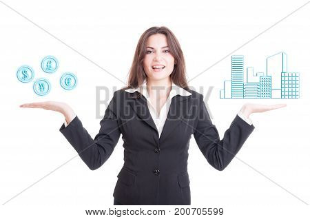 Real Estate Female Agent Looking Confident