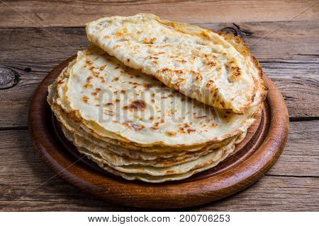 Stack Of Yeast Pancakes.
