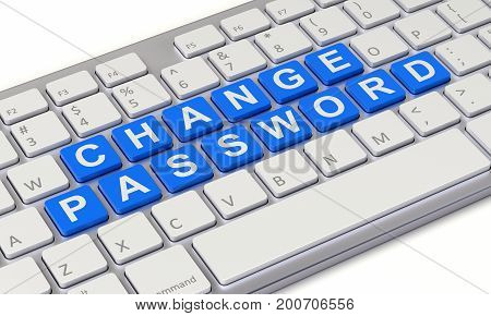 Change password concept with computer keyboard - 3d illustration