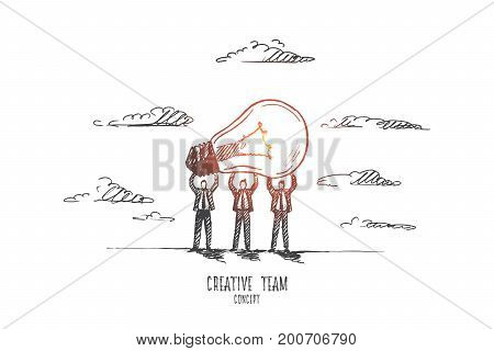 Creative team concept. Hand drawn people holding light bulb as a symbol of new idea. Burning bulb as a result of creative work of team isolated vector illustration.