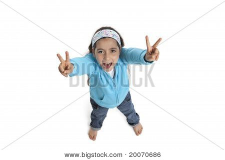 Cool  girl yelling and making a V sign
