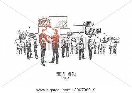 Social media concept. Hand drawn group of people communicate through internet. Diversity people connected with the help of digital devices isolated vector illustration.