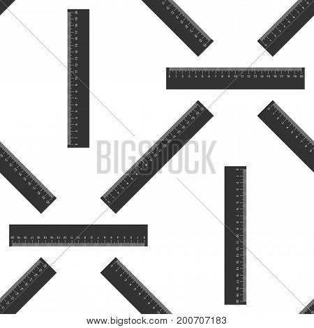 Straightedge symbol. Ruler icon seamless pattern on white background. Flat design. Vector Illustration