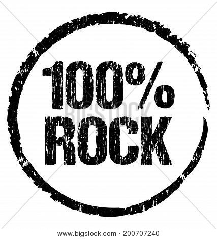 100% ROCK. Grunge symbol ready to print on any marketing object.