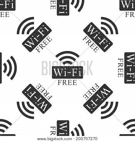 Free wifi sign icon seamless pattern on white background. Wifi symbol. Wireless Network icon. Wifi zone. Flat design. Vector Illustration
