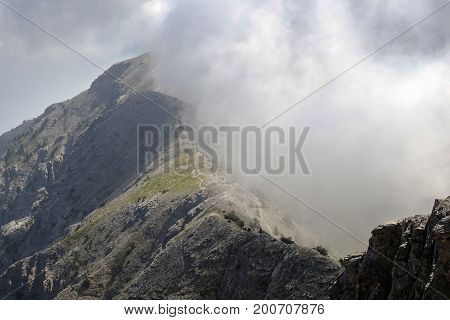 View of a steep mountainside of the mythical Mount Olympus in Greece