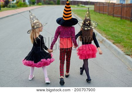 Little girls in witch costumes and hats walking away after halloween tricks