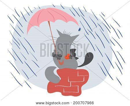 Two loving cats sit on a pipe under an umbrella during a rain / romance and care