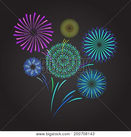 Color Celebration Fireworks on Dark Background for Party and Holiday Event Element Ceremony, Performance and Premiere. Vector illustration