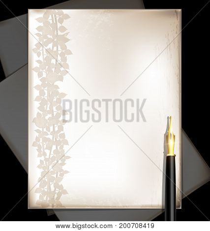 dark background retro stylized sheets of paper with floral pattern and old-fashioned golden writing pen