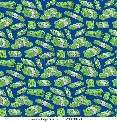 Money Dollar Set Packing in Bundles of Bank Notes Background Pattern on a Blue Finance Currency Concept. Vector illustration