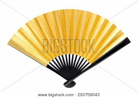 traditional Japanese style golden hand fan isolated on white background