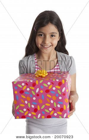 Happy girl carrying a gift