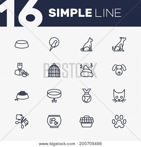 Collection Of Dog, Bird Prison, Aquarium And Other Elements.  Set Of 16 Pets Outline Icons Set.