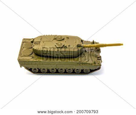 Photo of toy tank isolated on white background