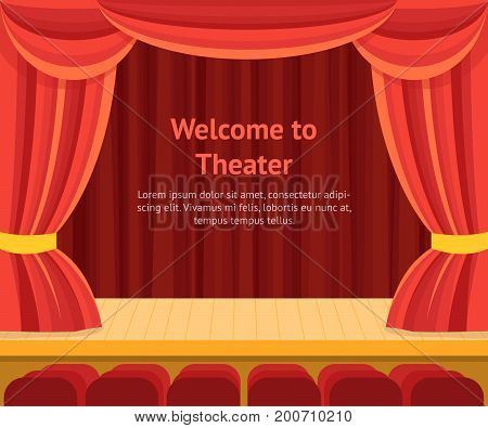 Theater Scene with a Red Curtain Concept Banner Card for Presentation, Performance, Concert. Vector illustration
